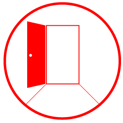 Illustration ofa doorway with a red door opened towards the screen with a pathway leading towards the opening enclosed in a red circle filled white.