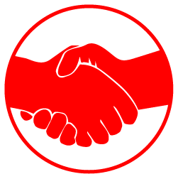 illustration of two red hands shaking enclosed in a red circle filled white.